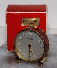 Vintage LOOPING Swiss Desk Travel Alarm Clock Mechanical Wind W/Box...WOW!!!