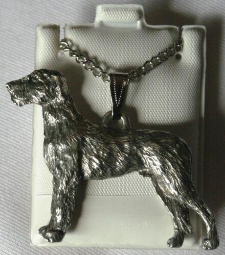 Irish Wolfhound Dog Harris Fine Pewter Pendant w Chain Necklace USA Made