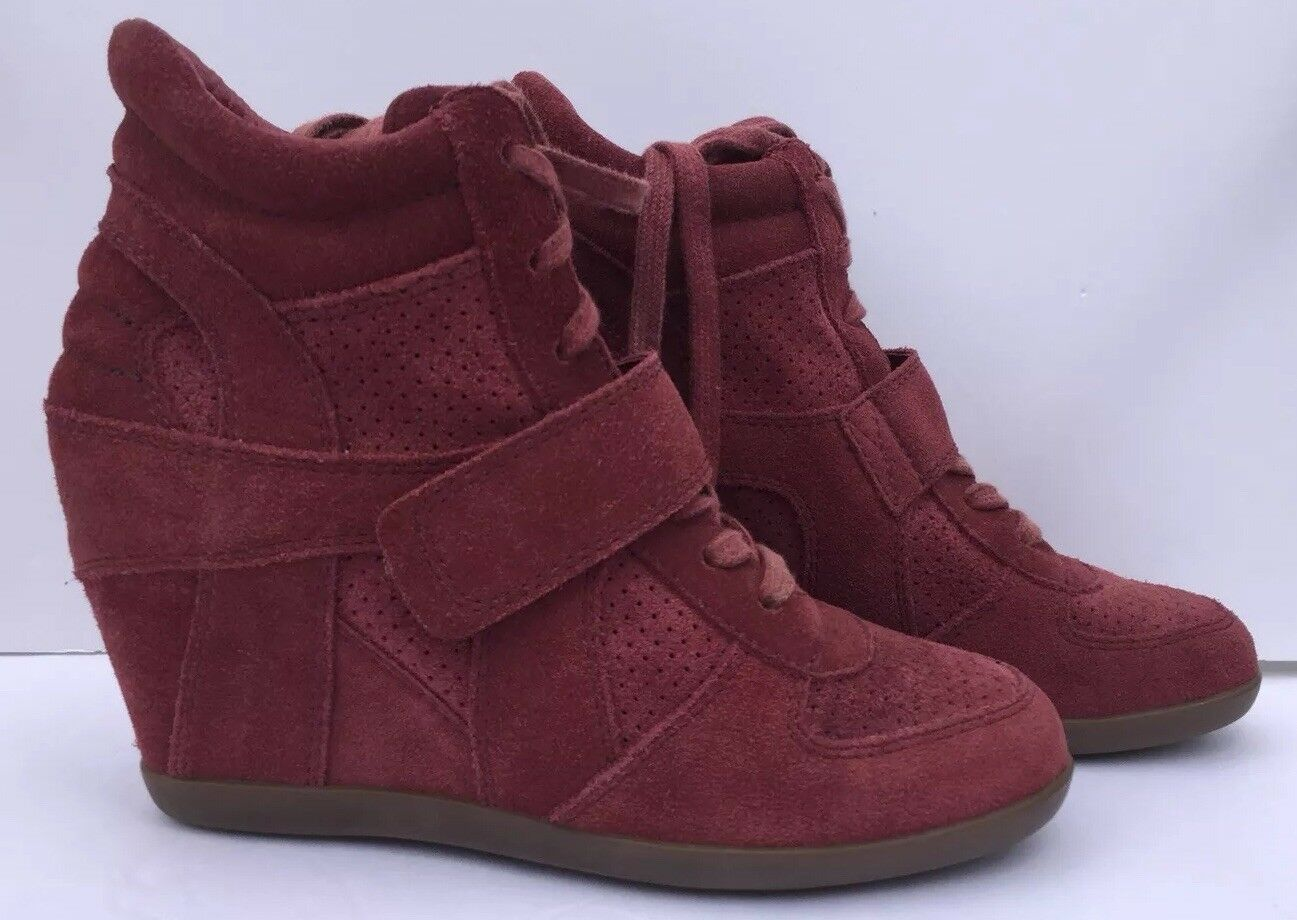 ASH Cool Bowie Bis Bowie Cool Wedge High Top Sneakers Ankle Stiefel Heeled Burgundy 37/ 6.5 8b5d01