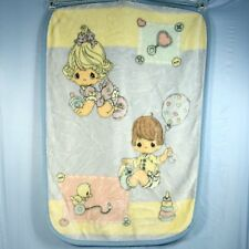 Precious Moments Baby Blanket Plush Thick Furry Girl Boy Duck Pastel Crib 30x45
