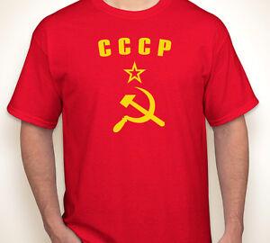 CCCP-HAMMER-amp-SICKLE-Russia-Russian-Soviet-Union-USSR-red-jersey-T-shirt-S-5XL