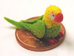 1:12 Échelle Petit Vert/jaune Argile Polymère Perroquet Maison Oiseau Accessoire