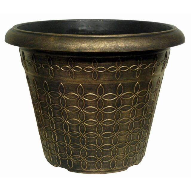 32l Black Bronze Large Plant Pot Round Tall Plastic Planter Outdoor Garden Pots