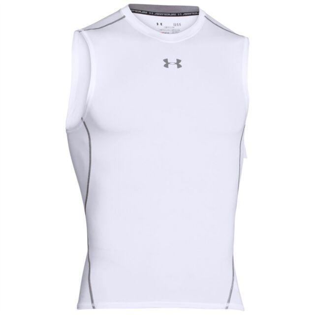 e75bf379a7ce0c Mens Under Armour HeatGear Sonic Compression Sleeveless Shirt White 1257469  M
