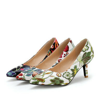 New Women Embroidered Floral Kitten Heels Pointed Toe Pumps Ladies Party Shoes | eBay