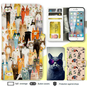 iPhone-8-7-Plus-6s-X-SE-Case-Cat-Kitty-Print-Wallet-Leather-Cover-5c-4-For-Apple