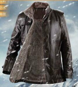 Mens Thicken Fleece Jacket Trench Pu Leather Winter Fur Lined Parka WARM Coat SZ