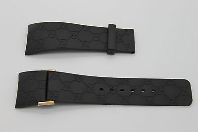 I Gucci 26mm Genuine Replacement Strap Mens Black Gucci G With Rose Accents