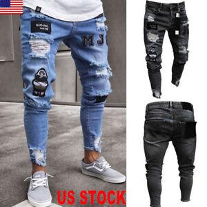 All-Waists-Mens-Skinny-Stretch-ripped-Jeans-Slim-Fit-Flex-Denim-Trousers-Pants