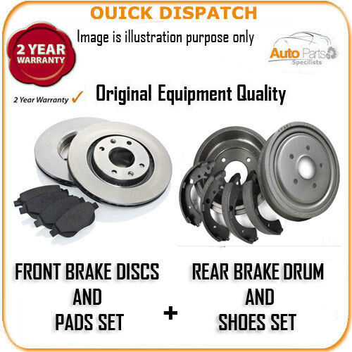 4298 FRONT BRAKE DISCS /& PADS AND REAR DRUMS /& SHOES FOR FIAT DOBLO 1.9D 5//2001