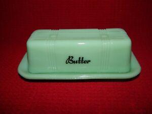 """1/4lb Stick Butter Dish Jade """"jadite"""" Glass Criss Cross Pattern 2pc New"""