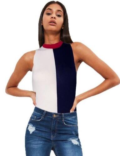 Womens Sleeveless Contrast Block Colour Bodysuit Leotard Top Stretch Round Neck