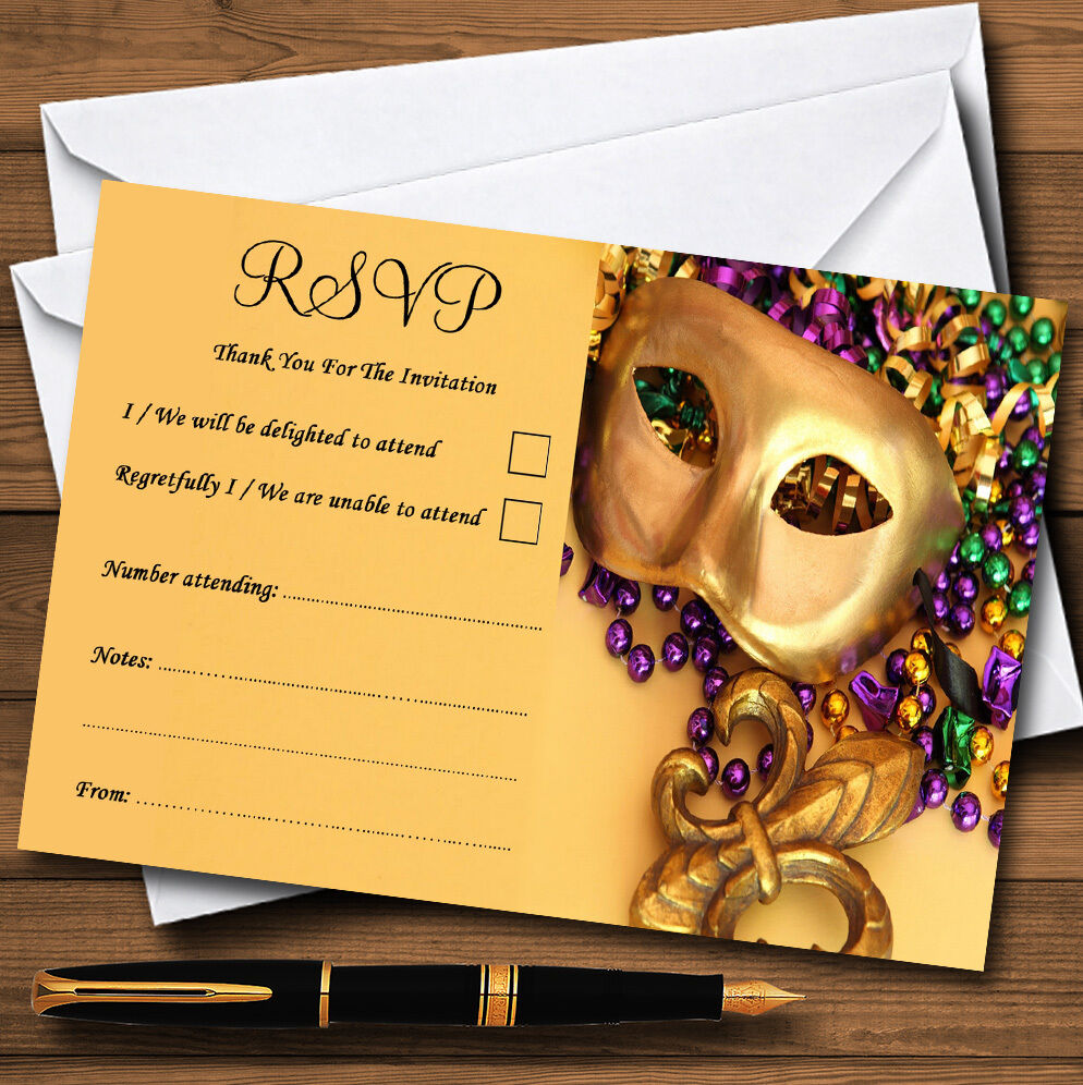 Mardi Gras Personalised Wedding Or Party RSVP Cards D5190f