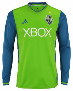 newest bd2b2 43a44 Details about adidas MLS Men's Seattle Sounders FC Authentic Long Sleeve  Jersey, Green