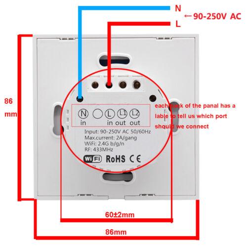 Sonoff T1 1//2 Gang WiFi Smart Switch Home Wall Light Control EU//UK RF Remote