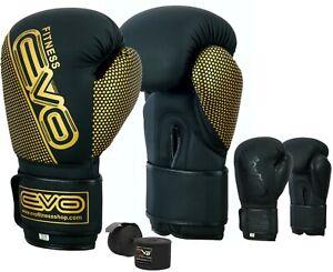 EVO-Boxing-Gloves-Sparring-Gel-MMA-Punch-Bag-training-Maya-leather-Muay-Thai-UFC