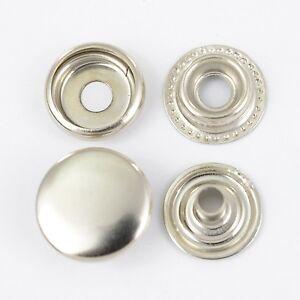 90 Ring-Feder Druckknöpfe TYPE 61 / 15mm silber, für Jacken, Basteln, Ösenpresse