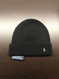 fe56b3a3f9c Polo Ralph Lauren Signature Winter Merino Wool Ribbed Cuff Beanie 6F0101 001