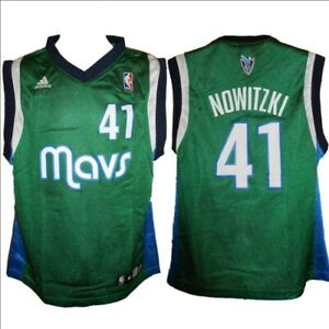 low priced 61c2a 7dcfe Details about Dallas Mavericks Dirk Nowitzki 41 Throwback Adidas Green  Jersey Kids Medium