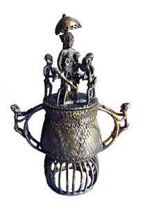 Energisch Große Afrika Akan Ashanti Kunst Bronze Goldstaubdose Gelbguss Behälter Box