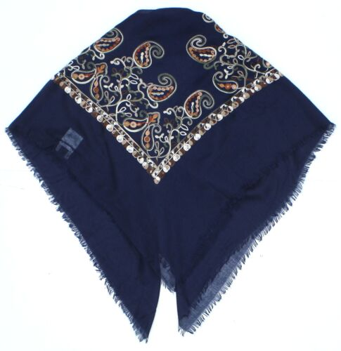 NWT A New Day Womens Embroidered Square Scarf Navy