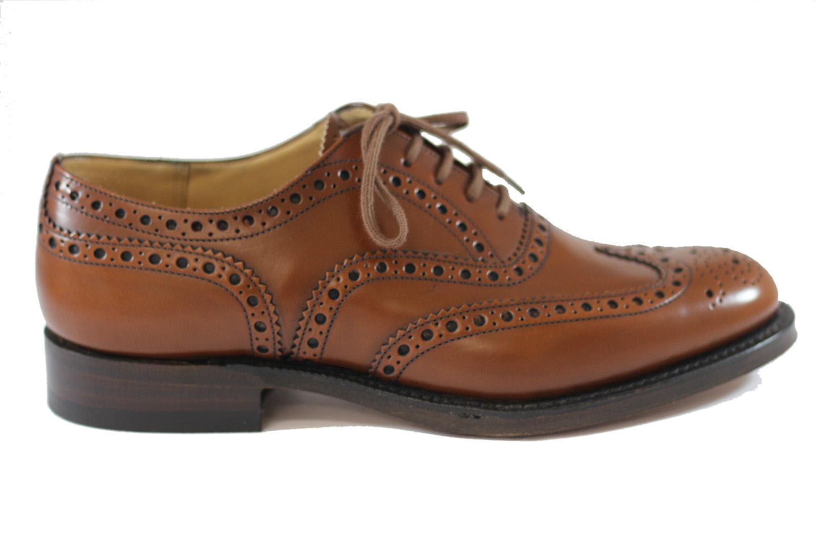 Los zapatos más populares para hombres y mujeres CHURCH'S Burwood 81 Sandalwood Polished Aglutinante brogue con cordones piel