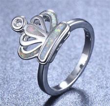 Fashion woman 925 Silver White Fire Opal CZ Crystal Wedding Ring Size 6 7 8 9 10