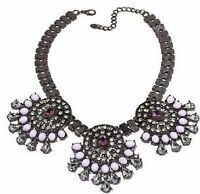 Cara Couture Jewelry Hematite Tone Purple Stone 3 -station 17  Drop Necklace