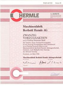 Berthold Hermle Aktie