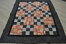 "Hawaiian quilt, machine stitched, red, white and blue, 42"" x 52"""