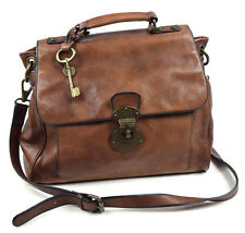 FOSSIL Brown Leather Briefcase Messenger Shoulder Bag Satchel Purse Tote Sack L