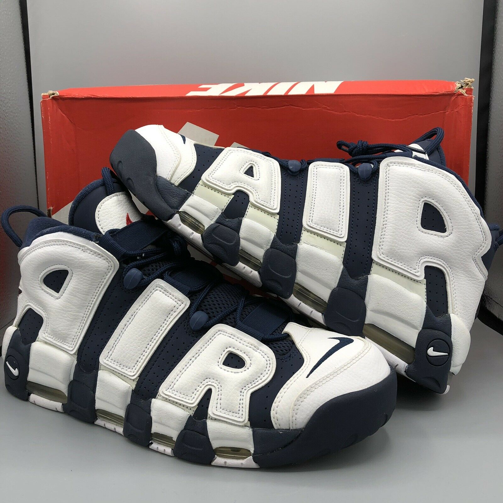 Nike Air More Uptempo Olympics Navy bluee White Red 96 Pippen 414962-104 Size 13