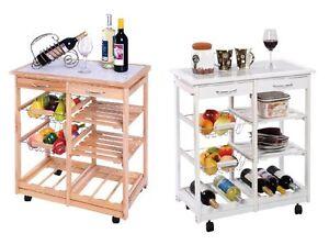 Servicio carro de cocina de madera mesa auxiliar natural/blanco 4 ruedas