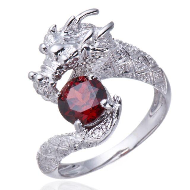 Natural Garnet Gemstone Solid Sterling Silver 925 Dragon Ring Size 6 7 8 9