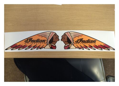 130MM X 50MM INDIAN PAIR MOTORCYCLE STICKER DECAL RETRO