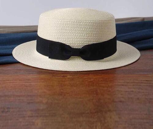 Women/'s Beach Flat Top chapeaux de paille Boater Bow Summer Panama avec variété de couleur