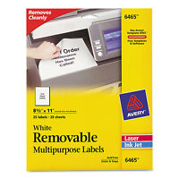 Avery Removable Multi-use Labels 8 1/2 X 11 White 25/pack 6465