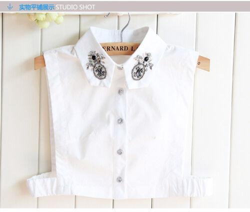 Detachable Women Cotton Lapel Shirt Fake False Collar Choker Necklace #EAF155