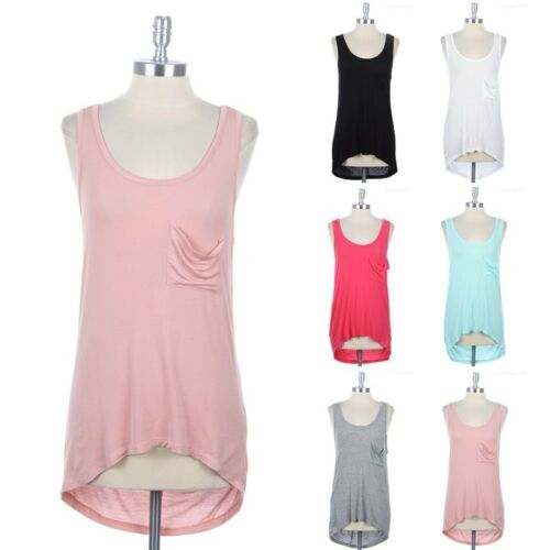 Solid Sleeveless High Low Hem Cowl Back Neck Top with Front Chest Pocket S M L