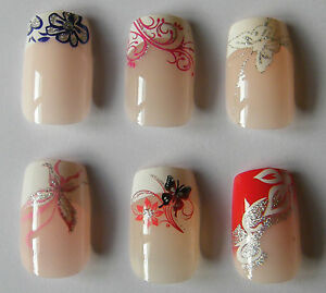 das bild wird geladen kunstnagel kuenstliche fingernaegel french nagel tips verschied muster - French Nagel Muster