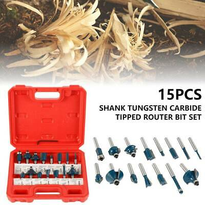 """15PCS TCT Router Bit Cutter Set 1//4/"""" Shank Tungsten Carbide Tipped Woodworking"""