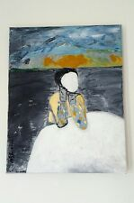 modern Japanese  surrealist painting , signed oil painting on canvas