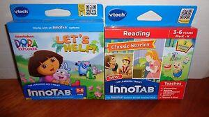 Lot-2-VTECH-INNOTAB-GAME-CARTRIDGES-Dora-Lets-Help-amp-Reading-Classic-Stories-3-6