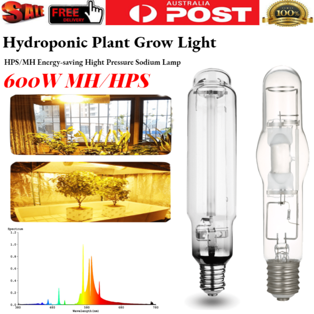 Growlush E40 600W HPS Grow Light Hydroponics High Pressure Sodium Lamp Bulb