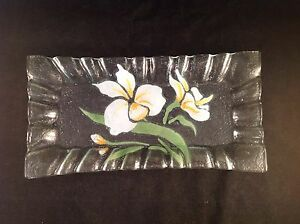 Clear-Glass-White-Lily-Scalloped-Rectangle-Plate-Dish-11-1-2-034-x-5-1-2-034