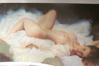 EARL MORAN 1970 Vintage Fine Art Lithograph Nude Woman Reclining Nicolle