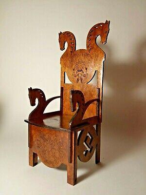 """Chair VIKING Throne Horse for Barbie FR BJD Dolls furniture 12/"""" 1//6 OOAK RARE"""