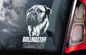 Bullmastiff-a-Bordo-Coche-Ventana-Pegatina-Toro-Mastiff-Perro-Signo-Forma