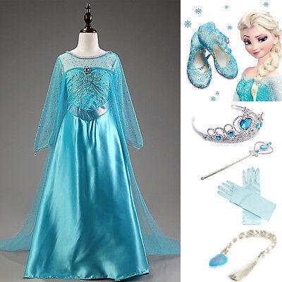 Frozen 2 Eiskönigin Elsa Mädchen Kleid Kaneval Fasching Coslay Kostüm Festkleid