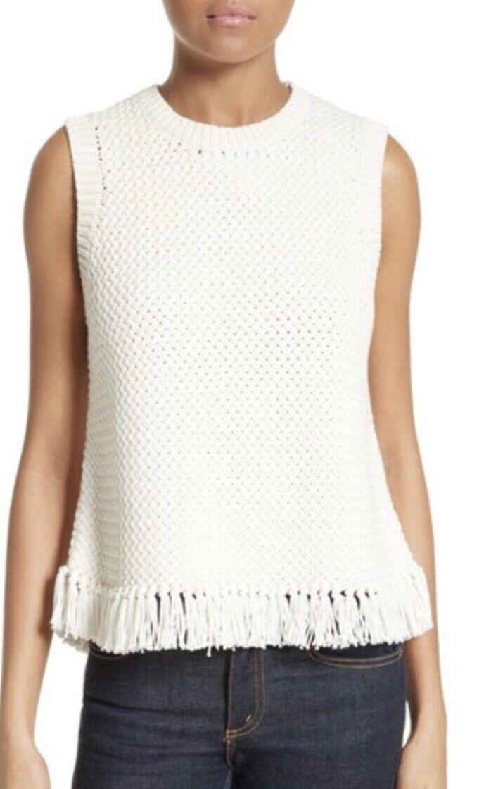 THEORY Meenara Shell White Soft Chain Knit Tank Sweater Size M